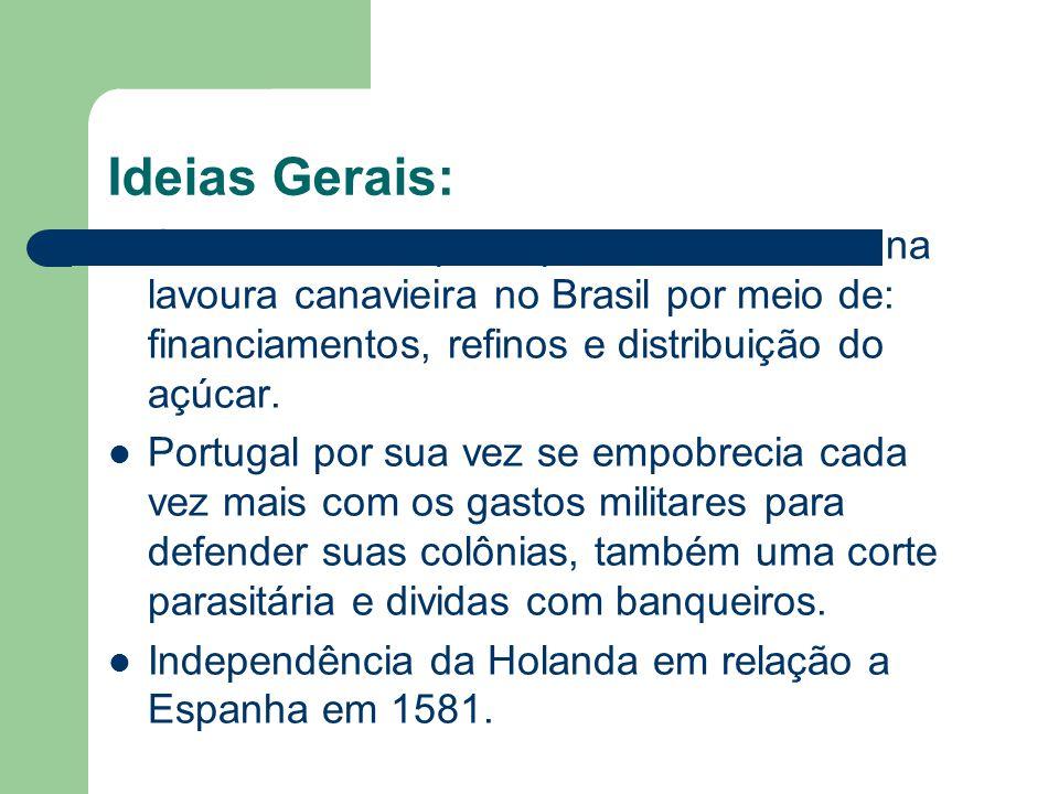 Ideias Gerais: Os holandeses participaram ativamente na lavoura canavieira no Brasil por meio de: financiamentos, refinos e distribuição do açúcar.