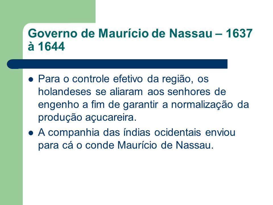 Governo de Maurício de Nassau – 1637 à 1644