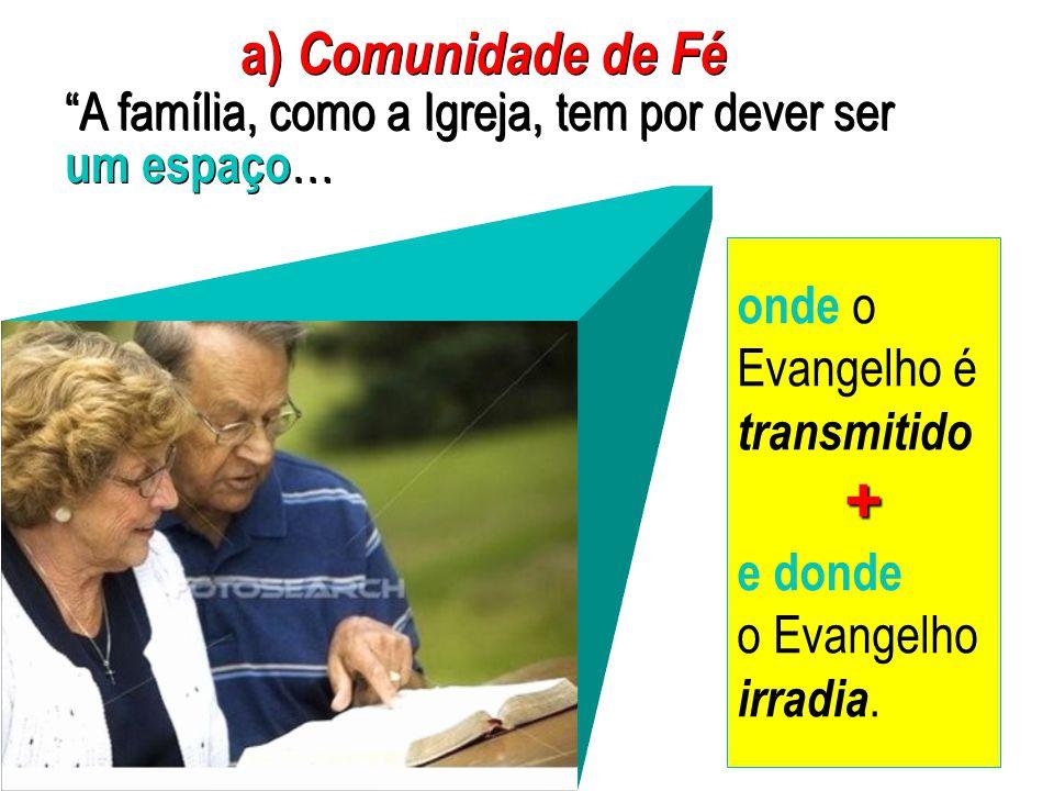a) Comunidade de Fé A família, como a Igreja, tem por dever ser um espaço…