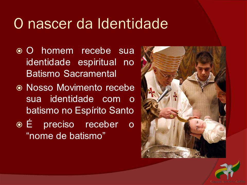 O nascer da Identidade O homem recebe sua identidade espiritual no Batismo Sacramental.