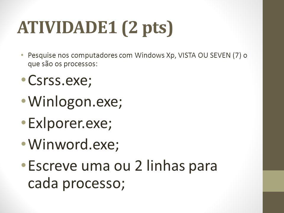 ATIVIDADE1 (2 pts) Csrss.exe; Winlogon.exe; Exlporer.exe; Winword.exe;