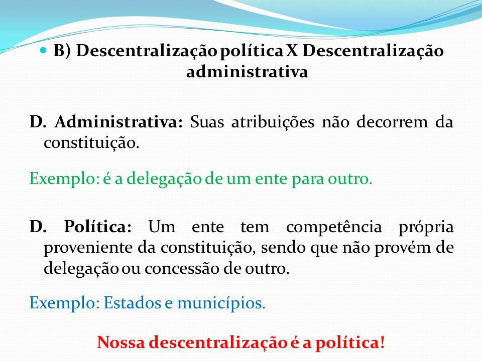 B) Descentralização política X Descentralização administrativa