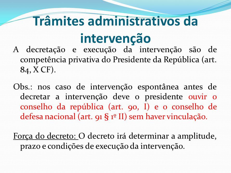 Trâmites administrativos da intervenção
