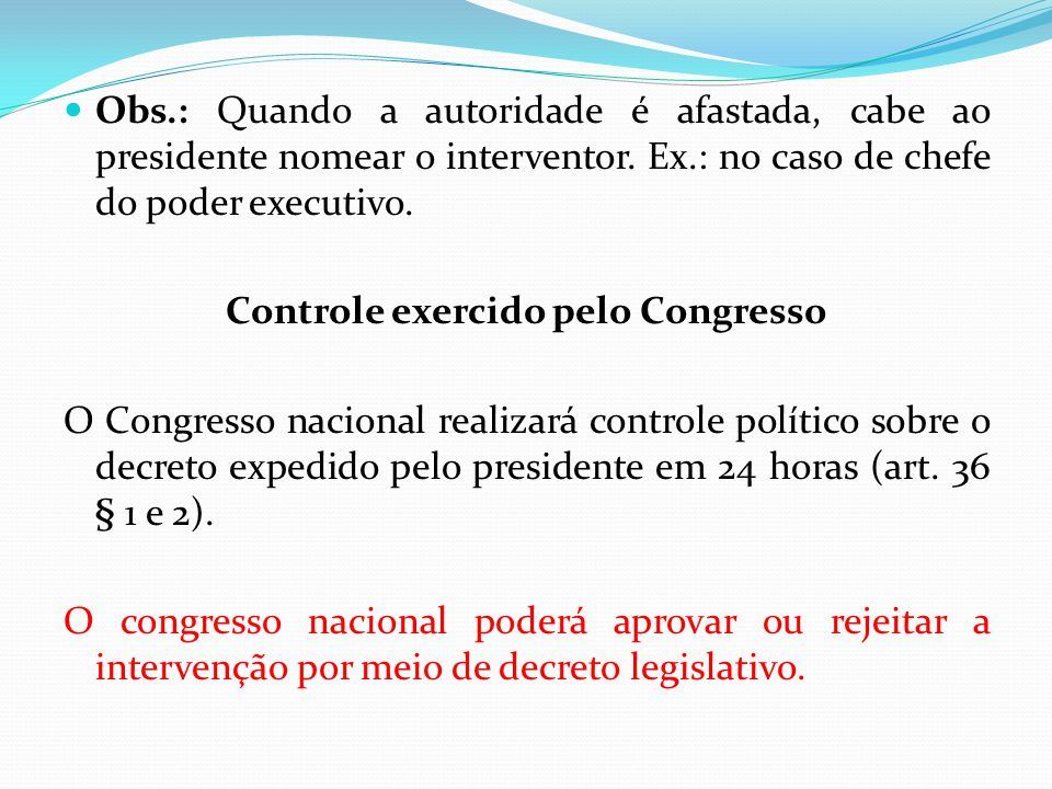 Controle exercido pelo Congresso