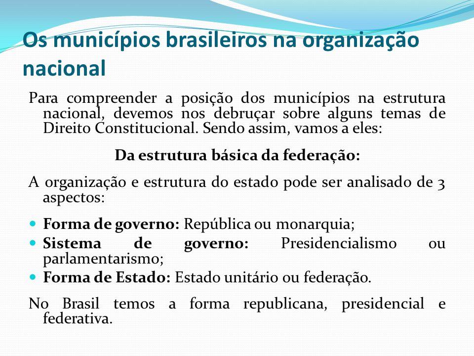 Os municípios brasileiros na organização nacional