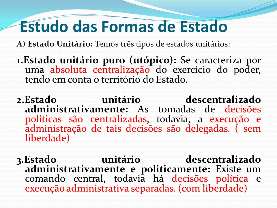 Estudo das Formas de Estado