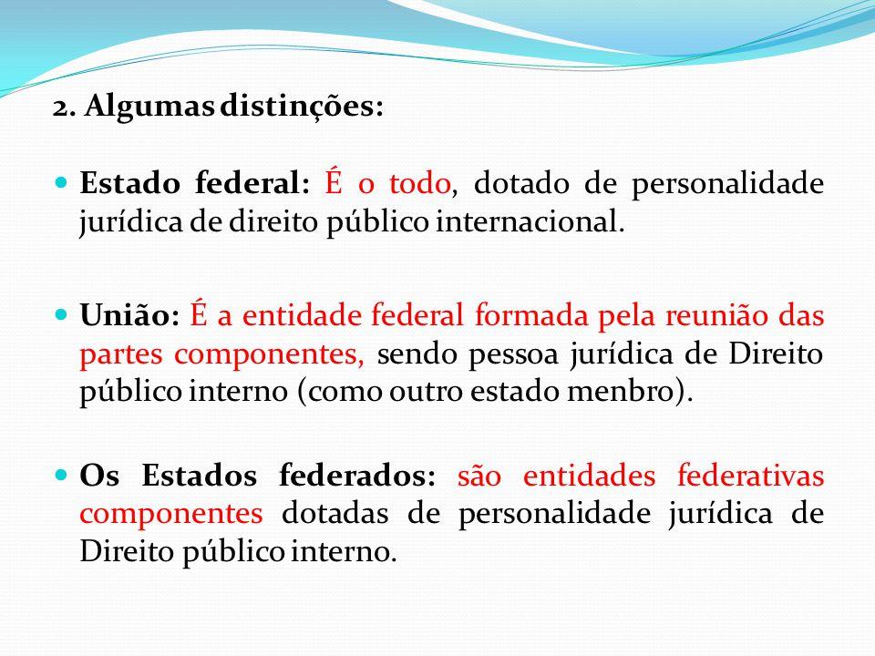 2. Algumas distinções: Estado federal: É o todo, dotado de personalidade jurídica de direito público internacional.