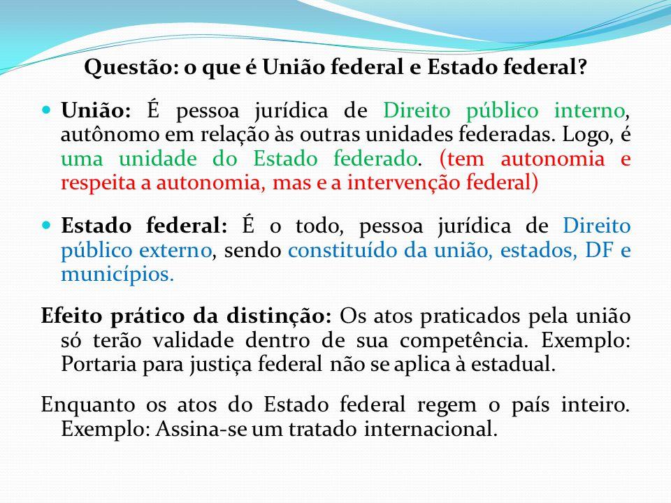 Questão: o que é União federal e Estado federal