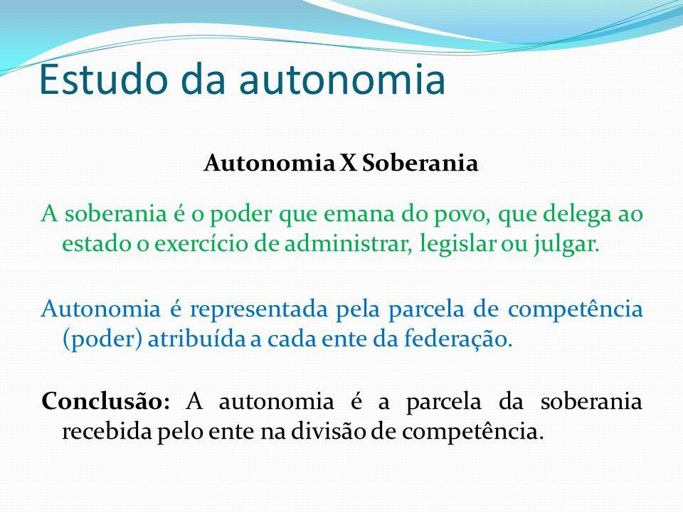 Estudo da autonomia Autonomia X Soberania