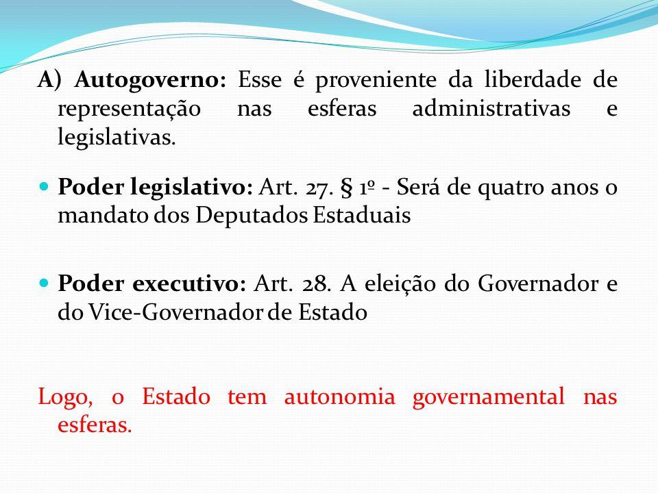 A) Autogoverno: Esse é proveniente da liberdade de representação nas esferas administrativas e legislativas.