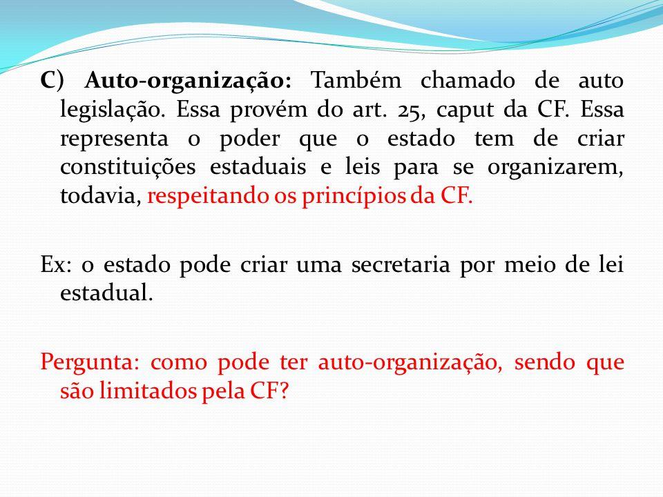 C) Auto-organização: Também chamado de auto legislação