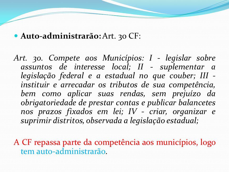 Auto-administrarão: Art. 30 CF: