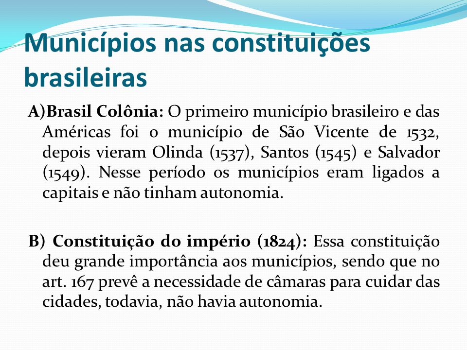 Municípios nas constituições brasileiras