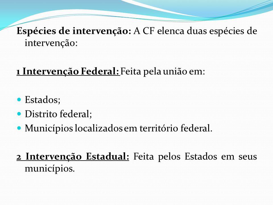 Espécies de intervenção: A CF elenca duas espécies de intervenção: