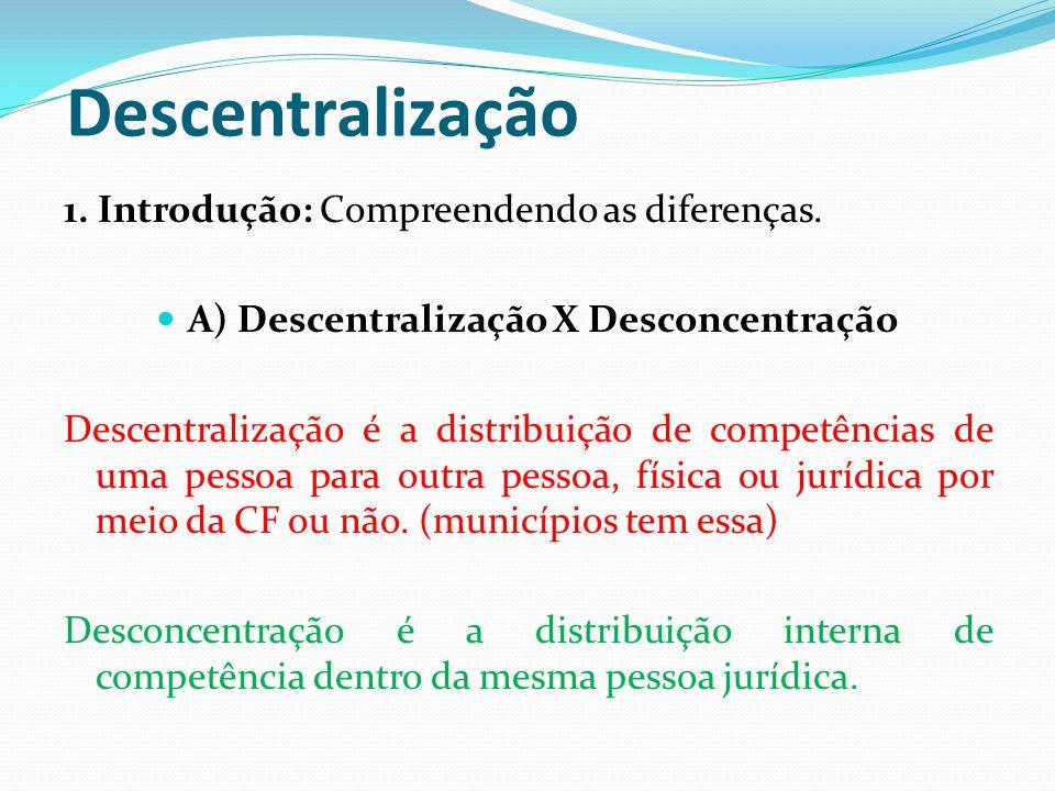 A) Descentralização X Desconcentração