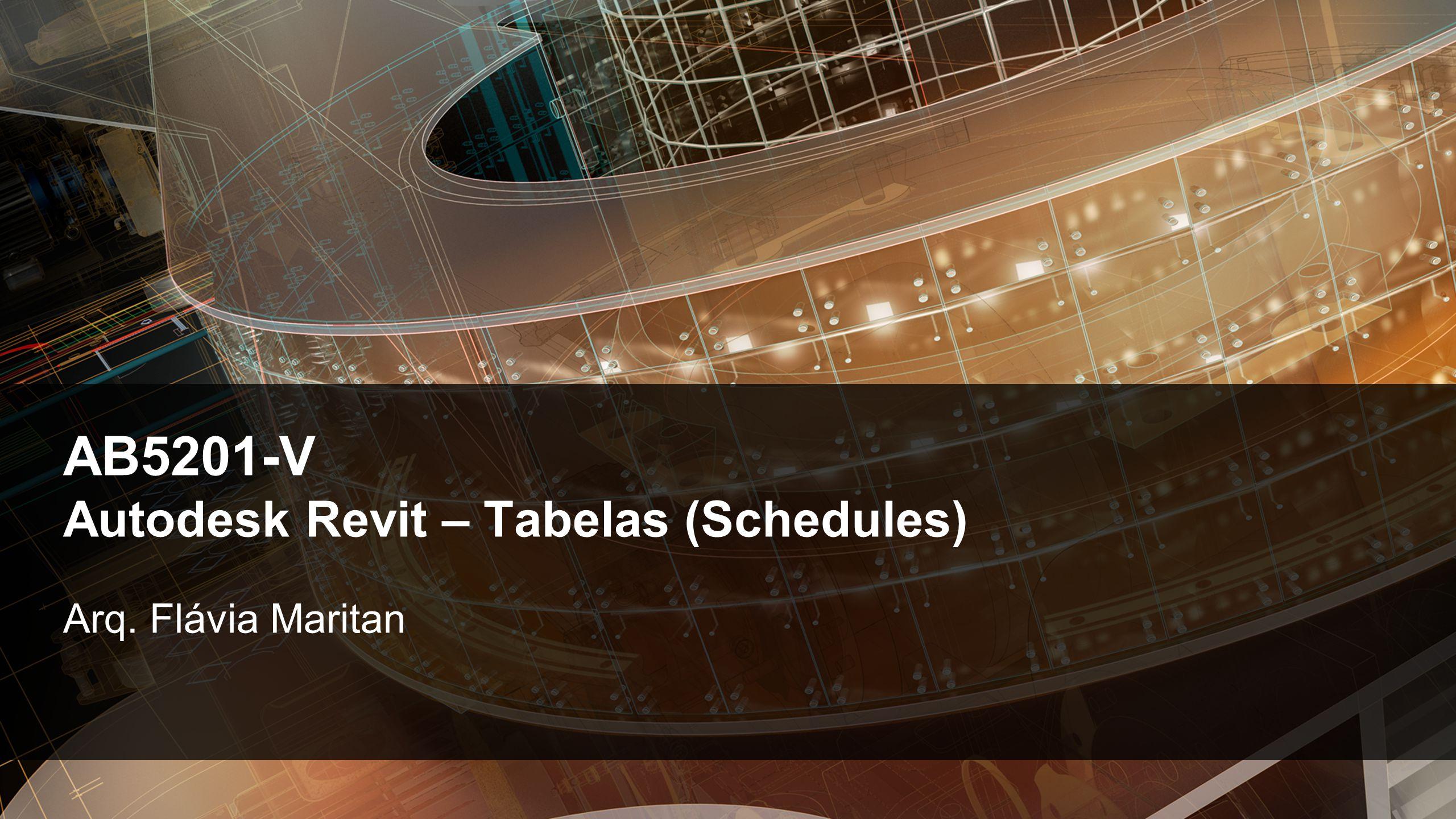 AB5201-V Autodesk Revit – Tabelas (Schedules)