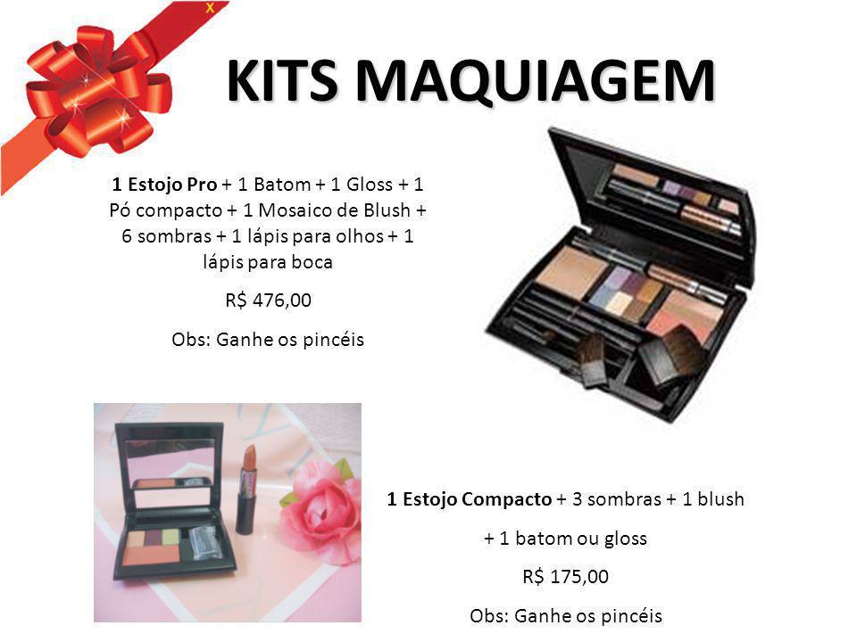 1 Estojo Compacto + 3 sombras + 1 blush