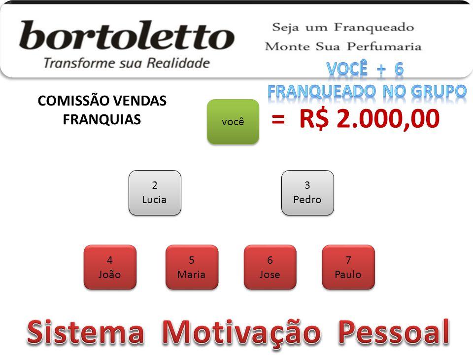 COMISSÃO VENDAS FRANQUIAS Sistema Motivação Pessoal