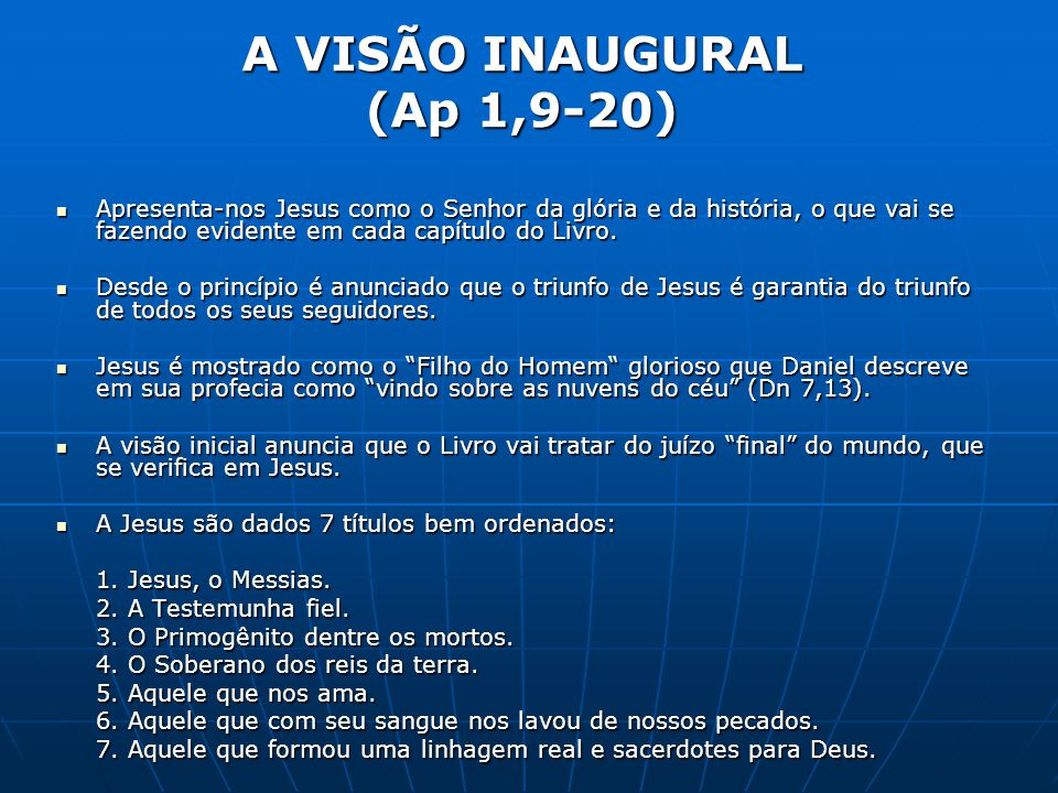 A VISÃO INAUGURAL (Ap 1,9-20)