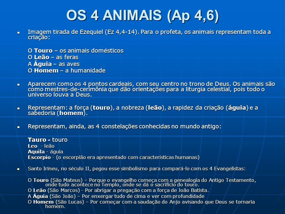 OS 4 ANIMAIS (Ap 4,6) Imagem tirada de Ezequiel (Ez 4,4-14). Para o profeta, os animais representam toda a criação: