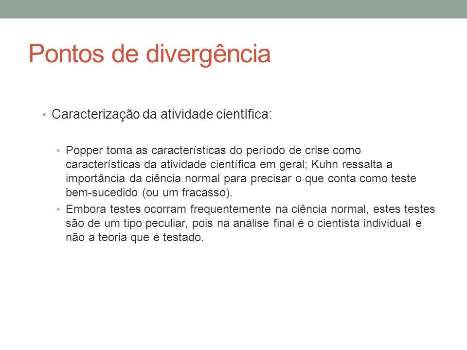 Pontos de divergência Caracterização da atividade científica: