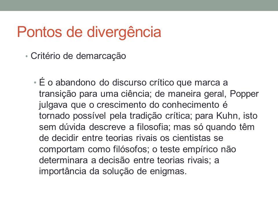 Pontos de divergência Critério de demarcação
