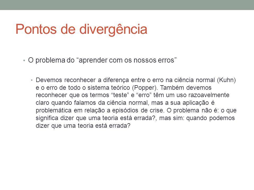 Pontos de divergência O problema do aprender com os nossos erros