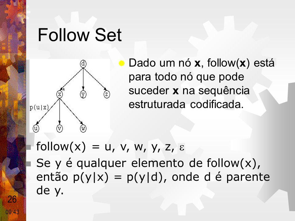 Follow Set Dado um nó x, follow(x) está para todo nó que pode suceder x na sequência estruturada codificada.