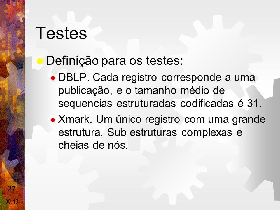 Testes Definição para os testes: