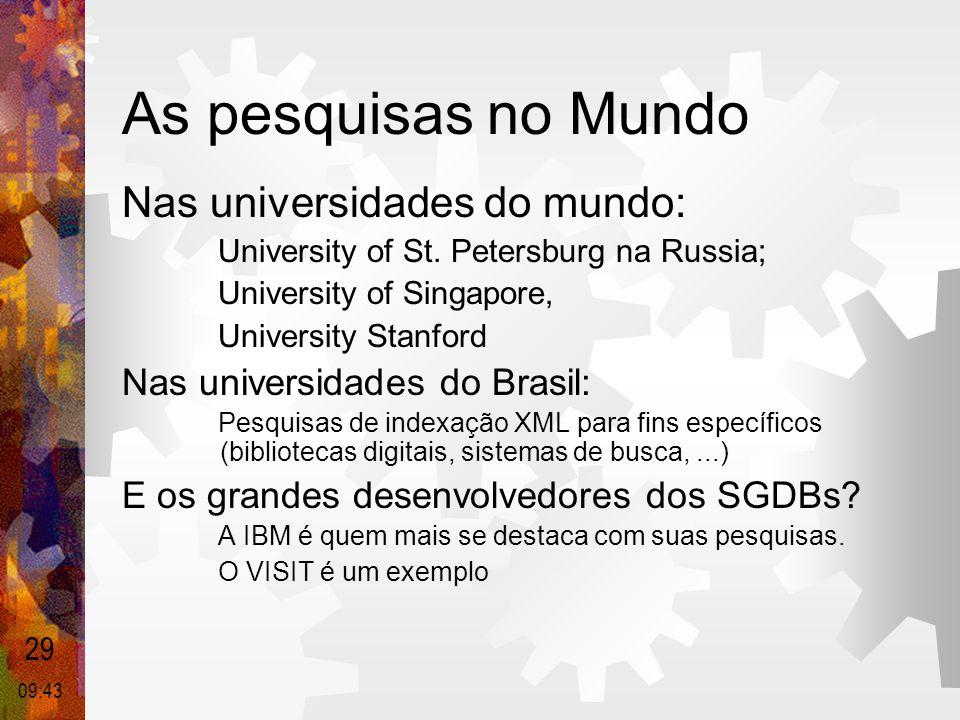 As pesquisas no Mundo Nas universidades do mundo: