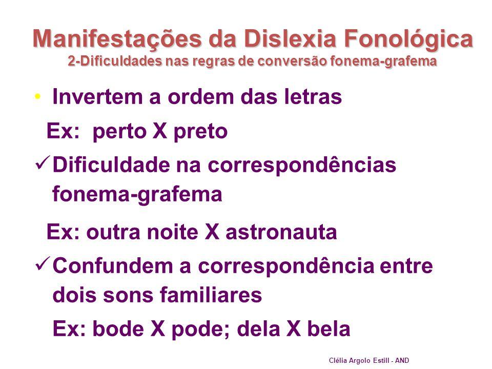 Manifestações da Dislexia Fonológica 2-Dificuldades nas regras de conversão fonema-grafema