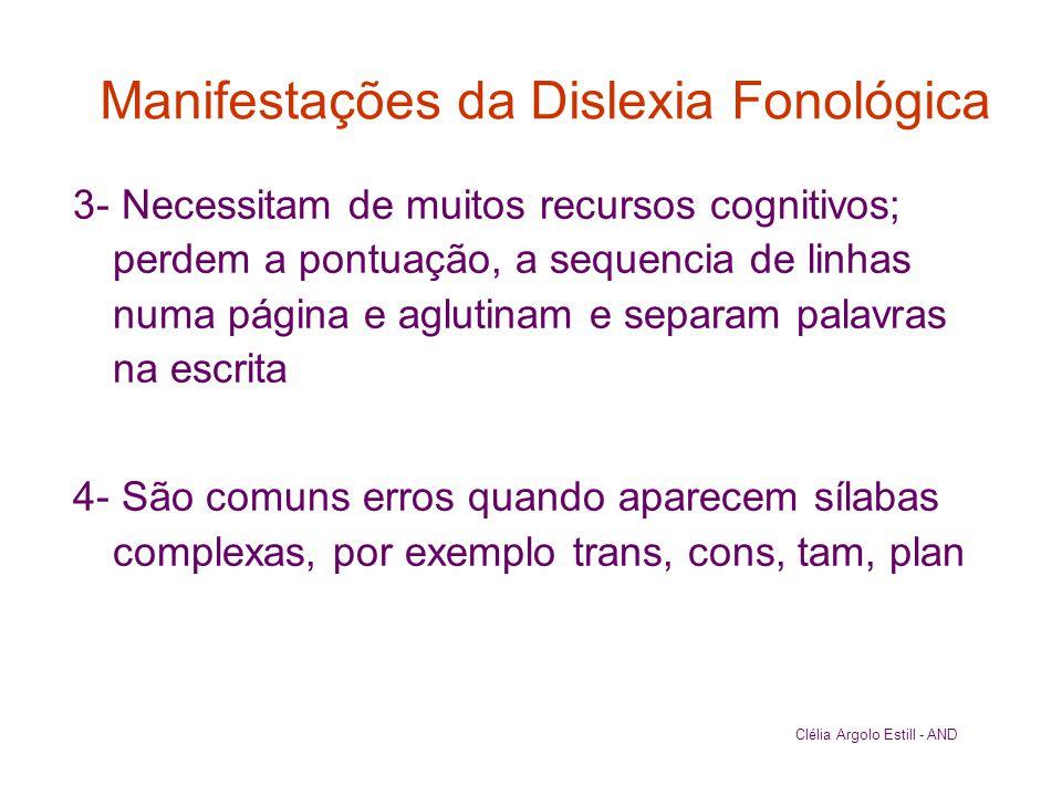 Manifestações da Dislexia Fonológica