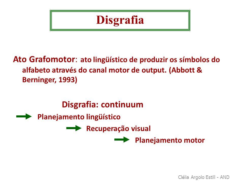 Disgrafia Ato Grafomotor: ato lingüístico de produzir os símbolos do alfabeto através do canal motor de output. (Abbott & Berninger, 1993)