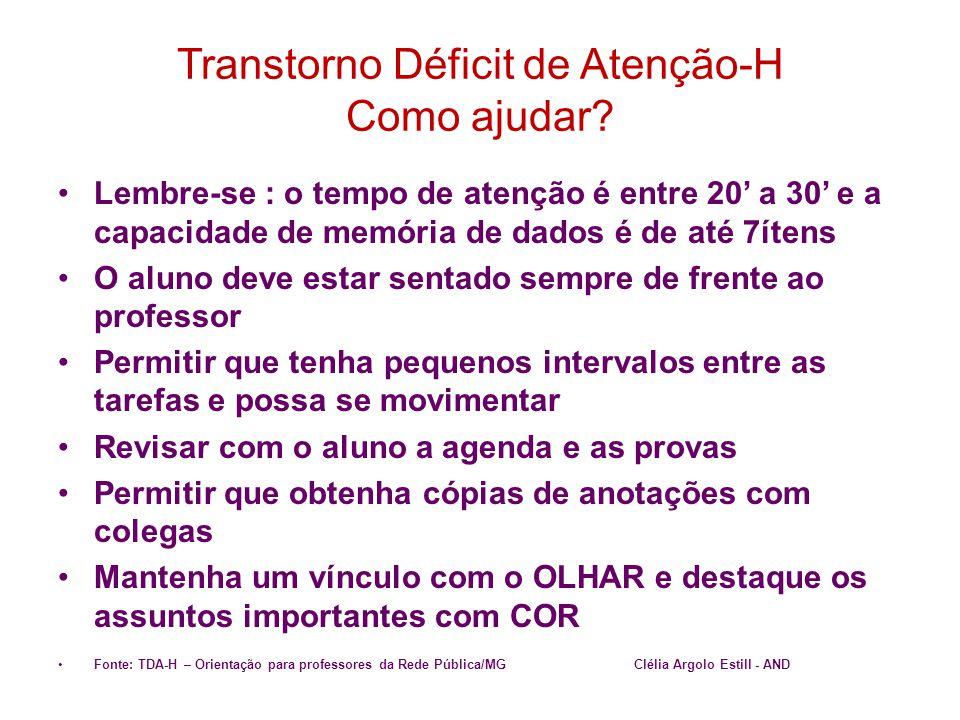 Transtorno Déficit de Atenção-H Como ajudar