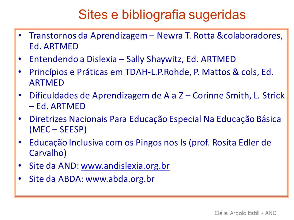 Sites e bibliografia sugeridas