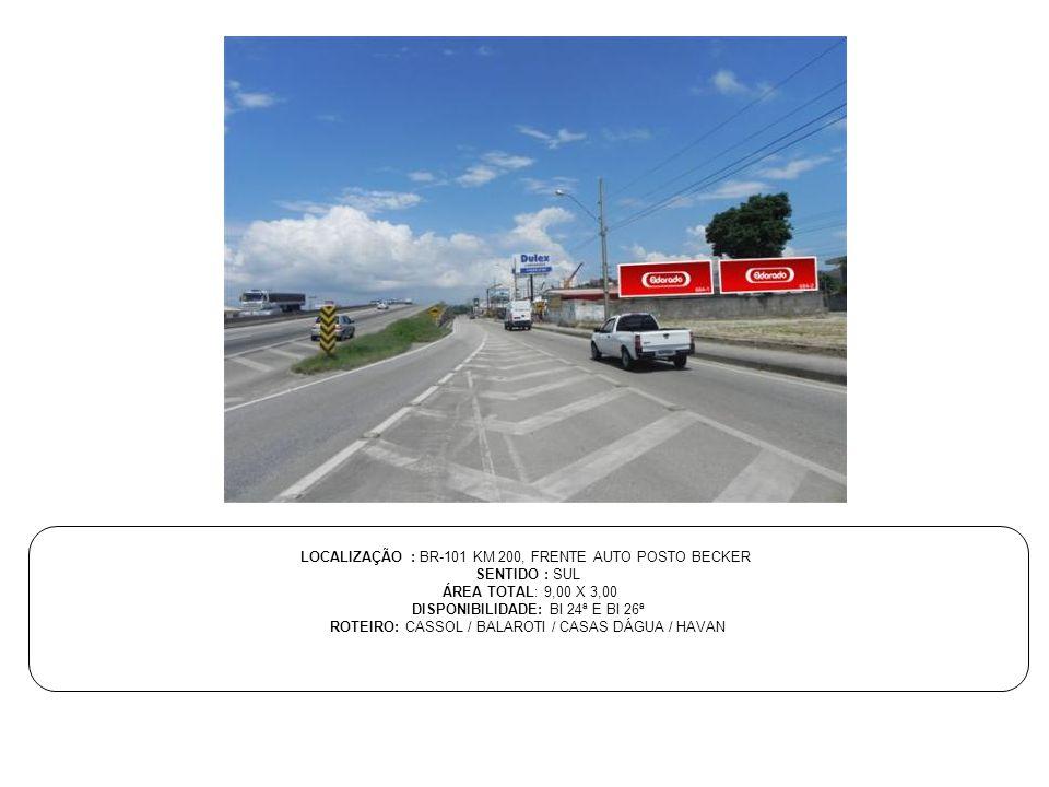 LOCALIZAÇÃO : BR-101 KM 200, FRENTE AUTO POSTO BECKER SENTIDO : SUL
