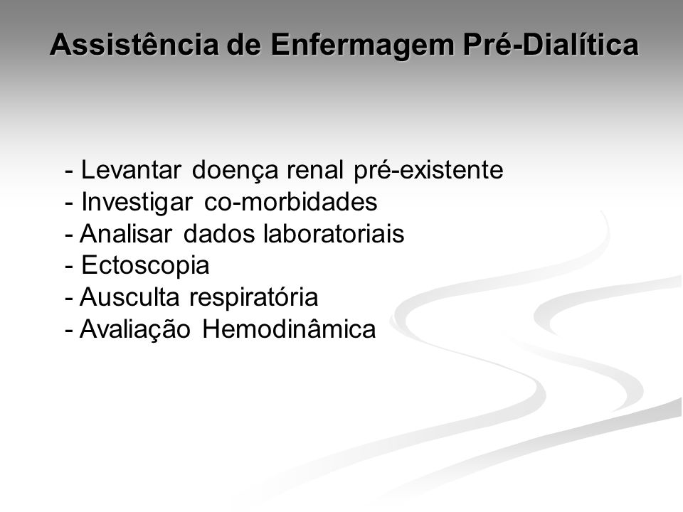 Assistência de Enfermagem Pré-Dialítica