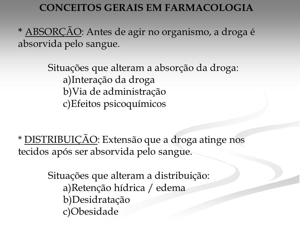 CONCEITOS GERAIS EM FARMACOLOGIA