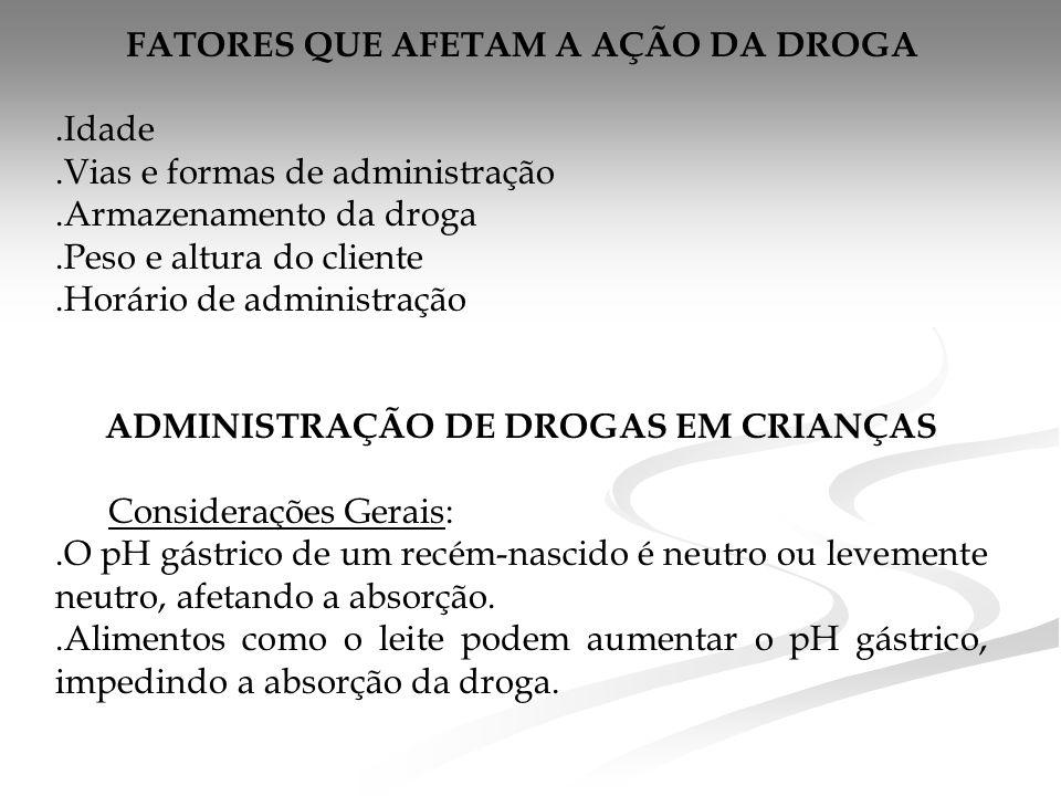 FATORES QUE AFETAM A AÇÃO DA DROGA ADMINISTRAÇÃO DE DROGAS EM CRIANÇAS