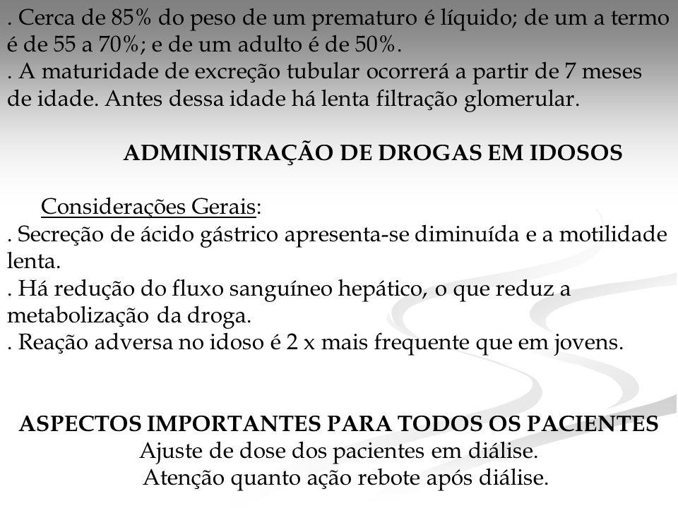 ADMINISTRAÇÃO DE DROGAS EM IDOSOS Considerações Gerais: