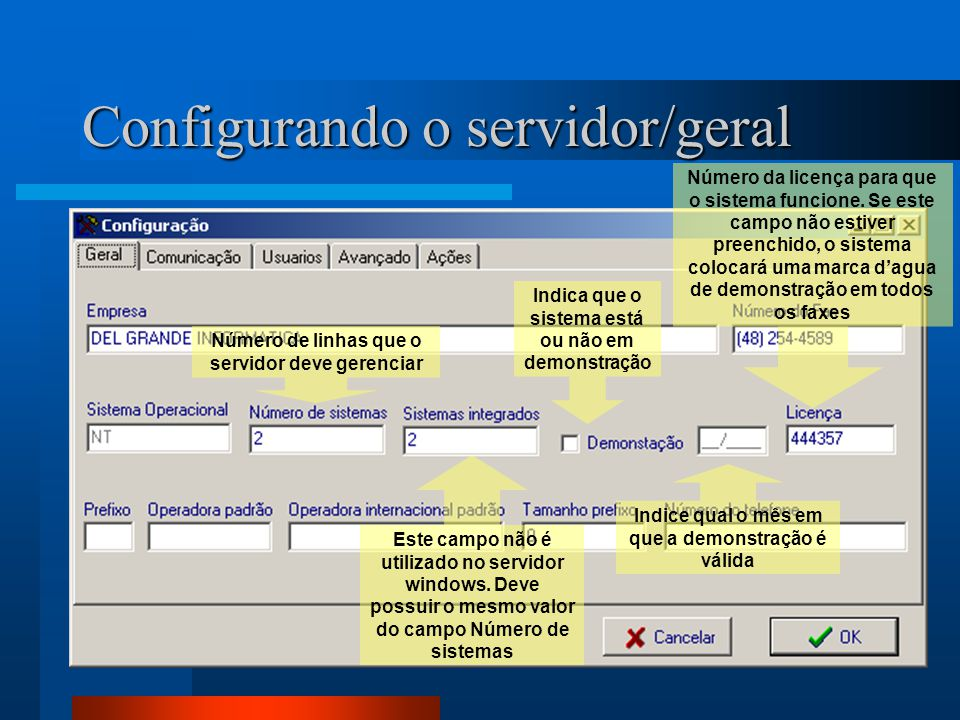Configurando o servidor/geral