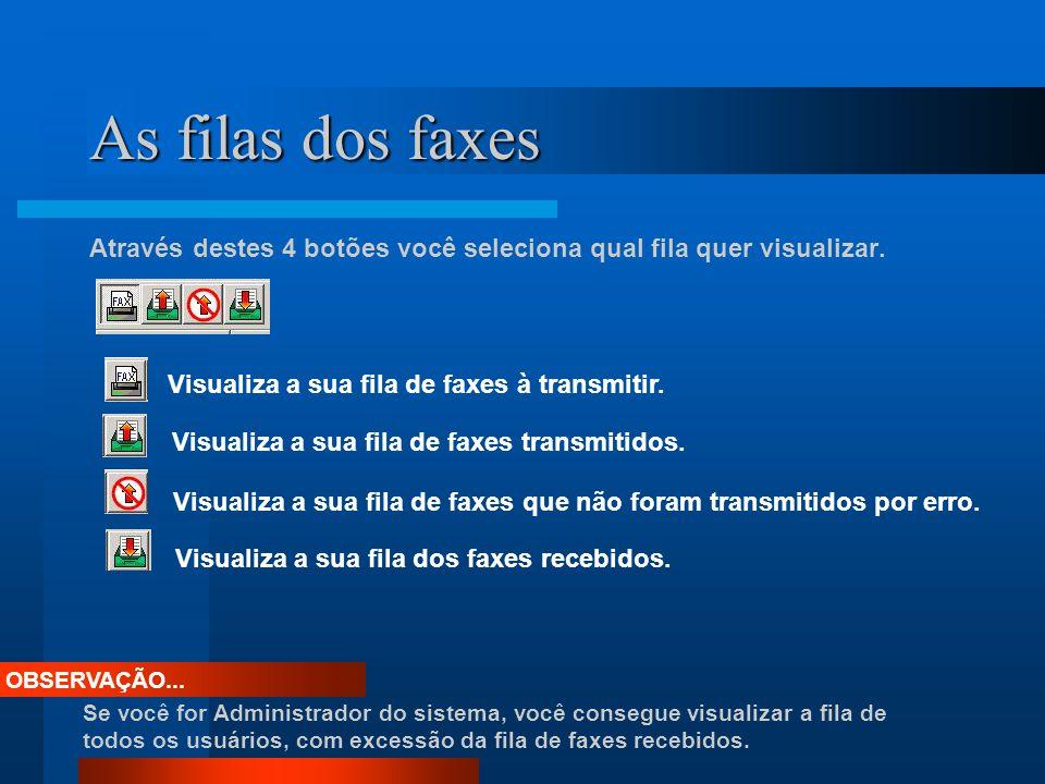 As filas dos faxes Através destes 4 botões você seleciona qual fila quer visualizar. Visualiza a sua fila de faxes à transmitir.