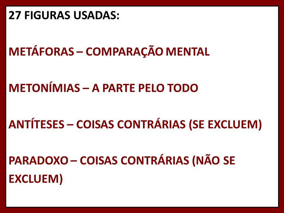 27 FIGURAS USADAS: METÁFORAS – COMPARAÇÃO MENTAL METONÍMIAS – A PARTE PELO TODO ANTÍTESES – COISAS CONTRÁRIAS (SE EXCLUEM) PARADOXO – COISAS CONTRÁRIAS (NÃO SE EXCLUEM)