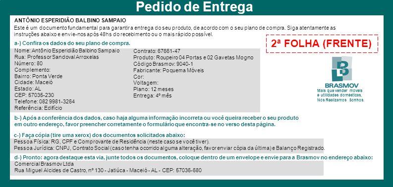 Pedido de Entrega 2ª FOLHA (FRENTE) ANTÔNIO ESPERIDIÃO BALBINO SAMPAIO