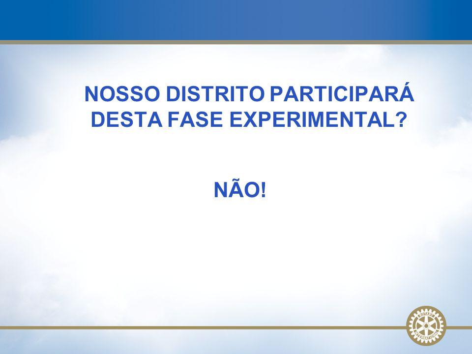 NOSSO DISTRITO PARTICIPARÁ DESTA FASE EXPERIMENTAL