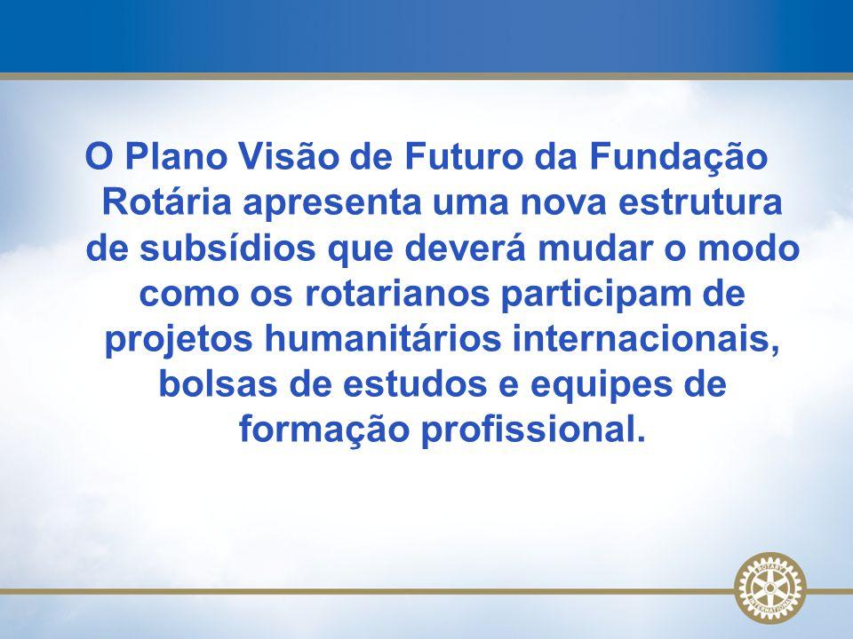 O Plano Visão de Futuro da Fundação Rotária apresenta uma nova estrutura de subsídios que deverá mudar o modo como os rotarianos participam de projetos humanitários internacionais, bolsas de estudos e equipes de formação profissional.