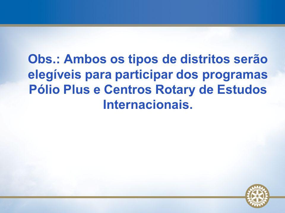 Obs.: Ambos os tipos de distritos serão elegíveis para participar dos programas Pólio Plus e Centros Rotary de Estudos Internacionais.