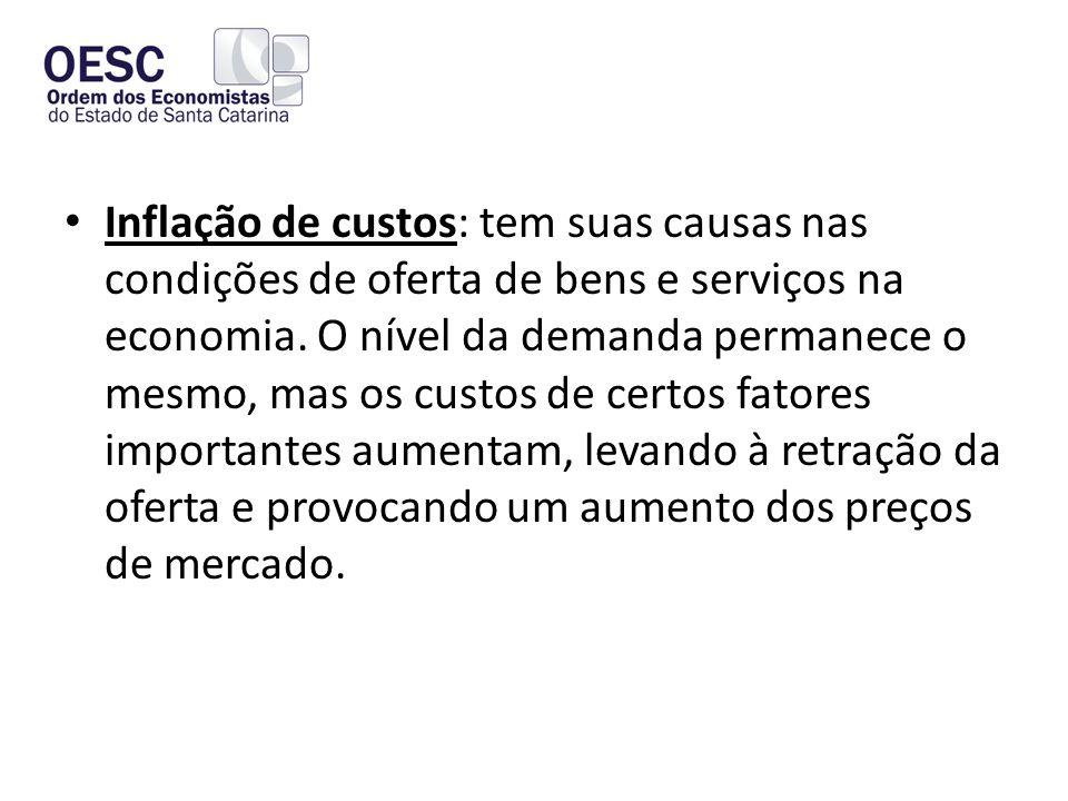 Inflação de custos: tem suas causas nas condições de oferta de bens e serviços na economia.