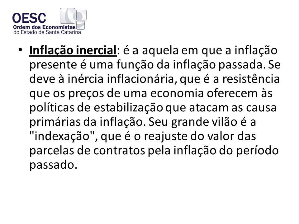 Inflação inercial: é a aquela em que a inflação presente é uma função da inflação passada.