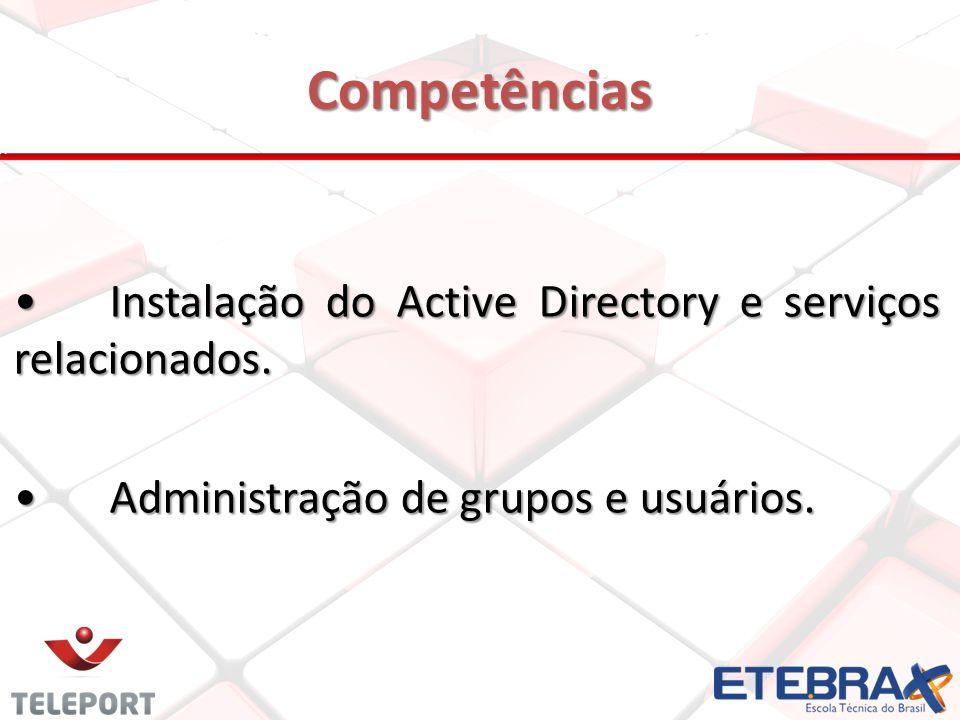 Competências Instalação do Active Directory e serviços relacionados.